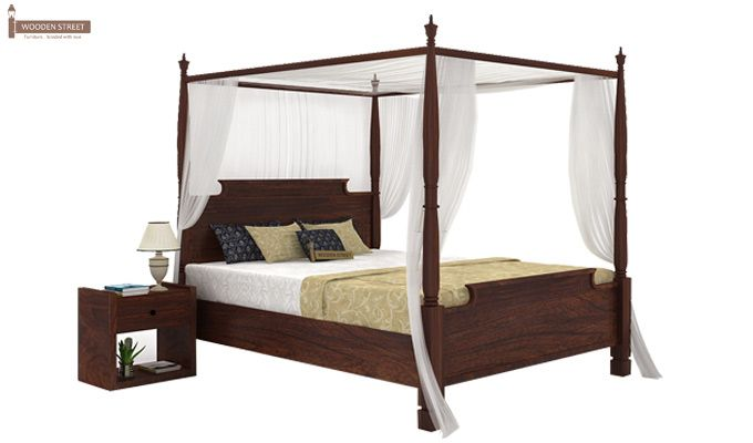 Isabel Poster Double Bed (King Size, Walnut Finish)-1