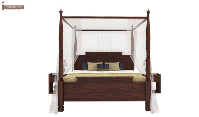 Isabel Poster Double Bed (King Size, Walnut Finish)-2