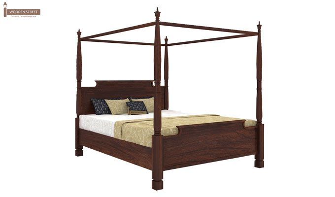 Isabel Poster Double Bed (King Size, Walnut Finish)-3