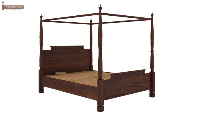 Isabel Poster Double Bed (King Size, Walnut Finish)-4