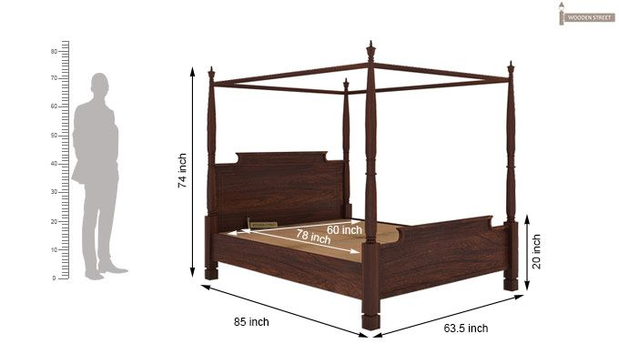Isabel Poster Double Bed (Queen Size, Walnut Finish)-5