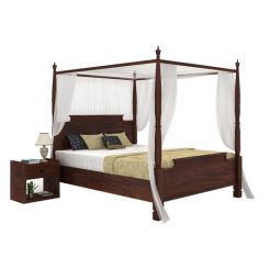 Isabel Poster Double Bed (King Size, Walnut Finish)
