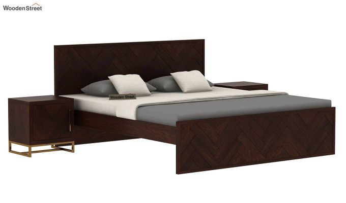 Jett Bed Without Storage (Queen Size,Walnut Finish)-2