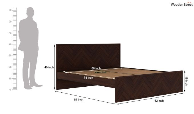 Jett Bed Without Storage (Queen Size,Walnut Finish)-7