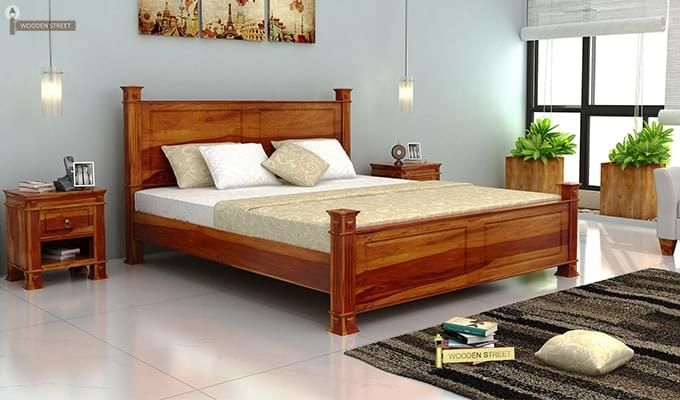 Kingsley Bed (Queen Size, Honey Finish)-1
