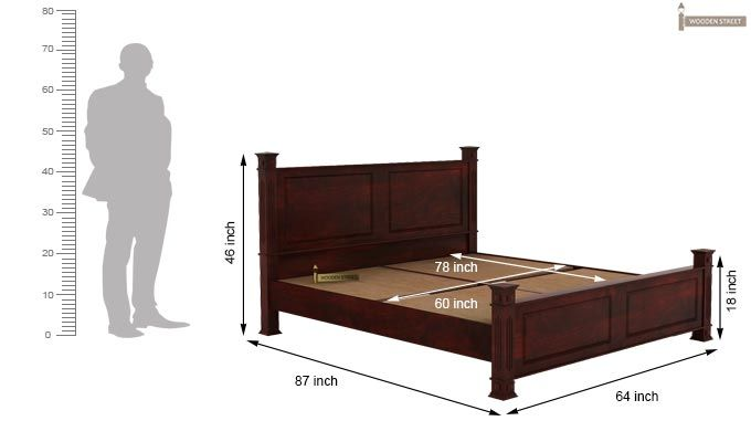 Kingsley Bed (Queen Size, Mahogany Finish)-5