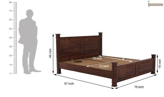 Kingsley Bed (King Size, Walnut Finish)-5