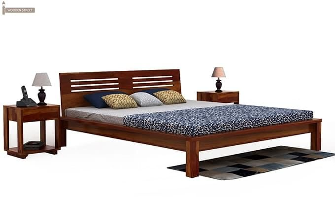 Lynet Bed Without Storage (King Size, Honey Finish)-1