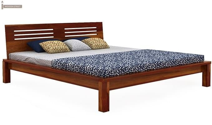 Lynet Bed Without Storage (King Size, Honey Finish)-3