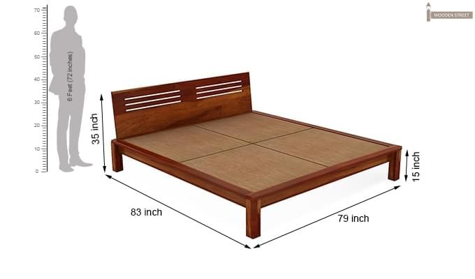 Lynet Bed Without Storage (King Size, Honey Finish)-7
