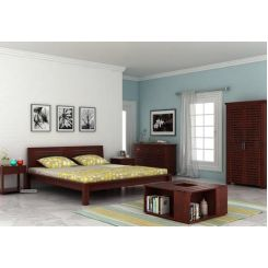 Lynet Bed Without Storage (Queen Size, Mahogany Finish)
