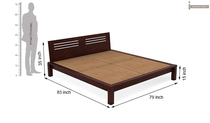 Lynet Bed Without Storage (King Size, Mahogany Finish)-7