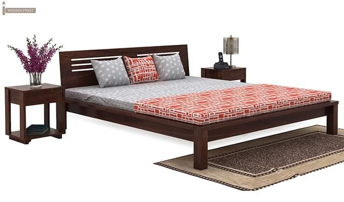 Lynet Bed Without Storage (King Size, Walnut Finish)-2