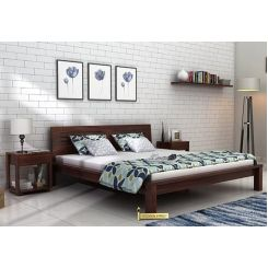 Lynet Bed Without Storage (King Size, Walnut Finish)