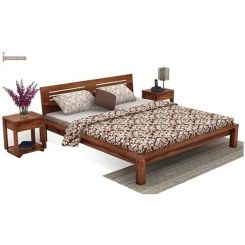 Lynet Bed Without Storage (King Size, Teak Finish)