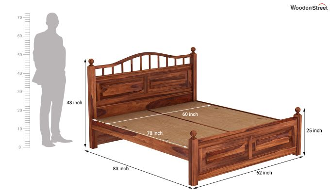 Madison Bed Without Storage (Queen Size, Honey Finish)-7