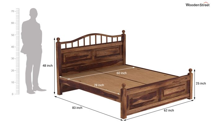 Madison Bed Without Storage (Queen Size, Teak Finish)-7