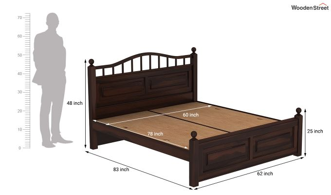 Madison Bed Without Storage (Queen Size, Walnut Finish)-7