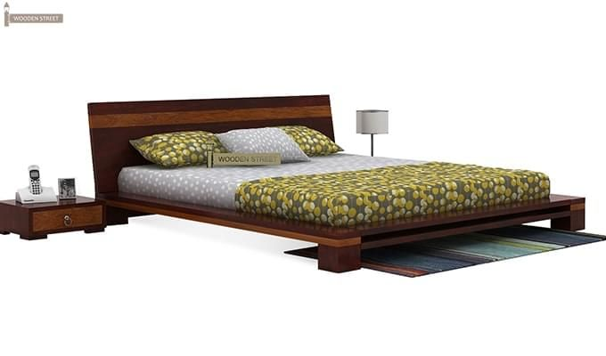 Melisandre Low Floor Double Bed (Queen Size, Mahogany Finish)-2