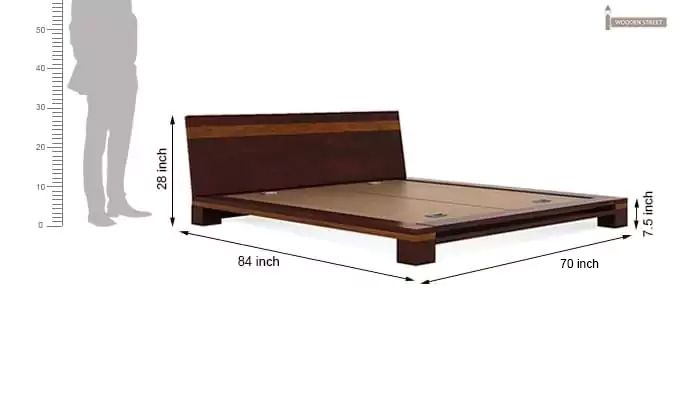 Melisandre Low Floor Double Bed (Queen Size, Mahogany Finish)-6