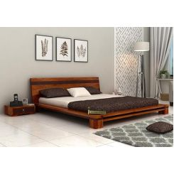 Melisandre Low Floor Double Bed (King Size, Honey Finish)