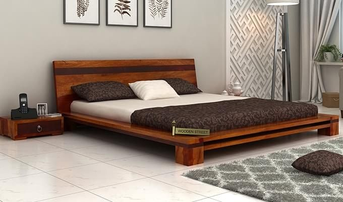 Melisandre Low Floor Double Bed (Queen Size, Honey Finish)-1