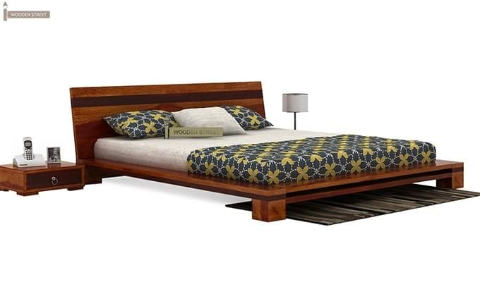 Melisandre Low Floor Double Bed (Queen Size, Honey Finish)-2