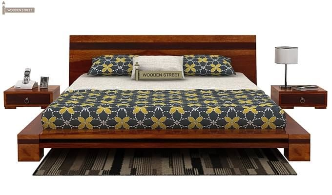 Melisandre Low Floor Double Bed (Queen Size, Honey Finish)-3