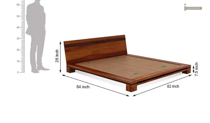 Melisandre Low Floor Double Bed (King Size, Honey Finish)-7