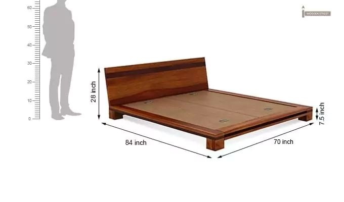 Melisandre Low Floor Double Bed (Queen Size, Honey Finish)-7