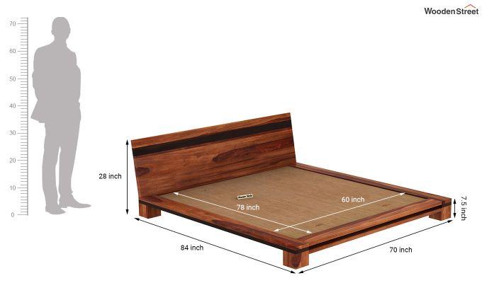 Melisandre Low Floor Double Bed (Queen Size, Honey Finish)-7