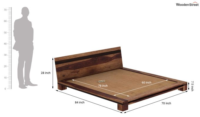 Melisandre Low Floor Double Bed (Queen Size, Teak Finish)-7