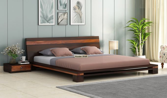 Melisandre Low Floor Double Bed (Queen Size, Walnut Finish)-1