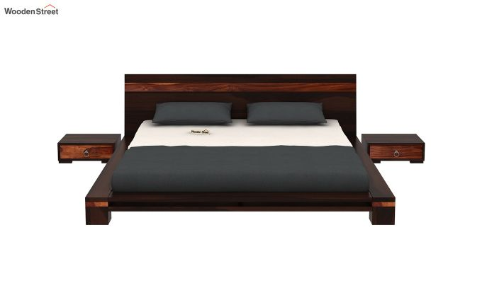 Melisandre Low Floor Double Bed (Queen Size, Walnut Finish)-3