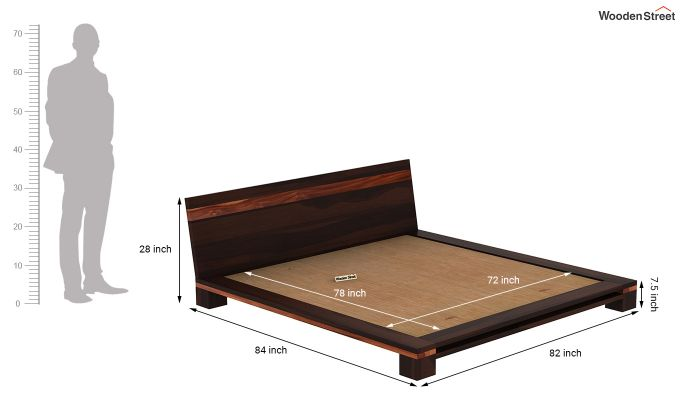 Melisandre Low Floor Double Bed (King Size, Walnut Finish)-7
