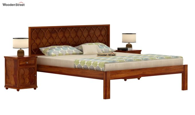 Montana Bed Without Storage (King Size, Honey Finish)-1