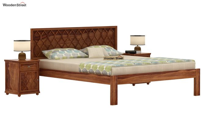Montana Bed Without Storage (Queen Size, Teak Finish)-1