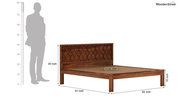 Montana Bed Without Storage (Queen Size, Teak Finish)-6
