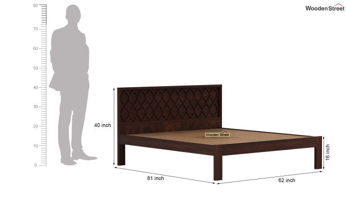 Montana Bed Without Storage (Queen Size, Walnut Finish)-6