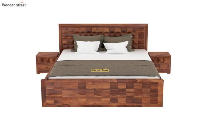 Morse Bed Without Storage (King Size, Honey Finish)-3