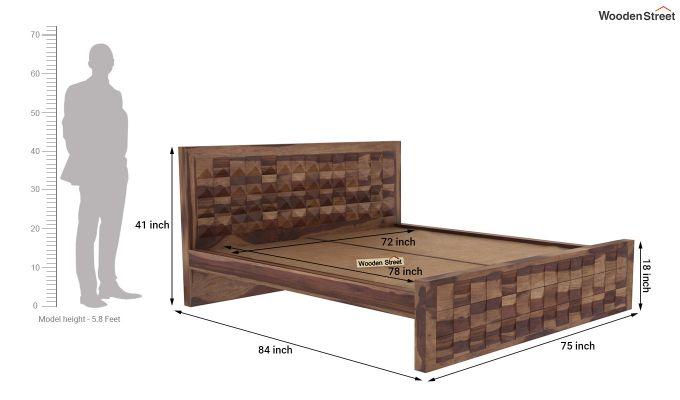 Morse Bed Without Storage (King Size, Teak Finish)-5