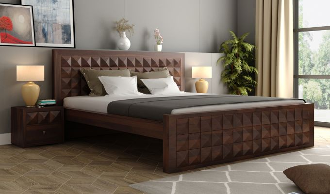 Morse Bed Without Storage (King Size, Walnut Finish)-1