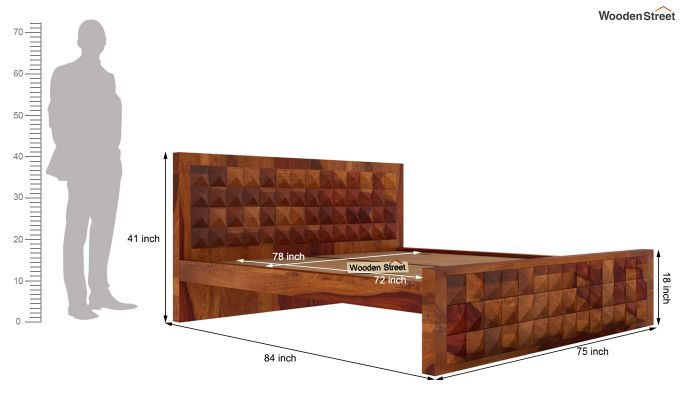 Morse Bed Without Storage (King Size, Honey Finish)-5