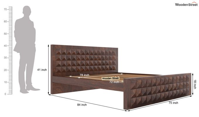 Morse Bed Without Storage (King Size, Walnut Finish)-5