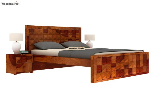 Morse Bed Without Storage (Queen Size, Honey Finish)-1