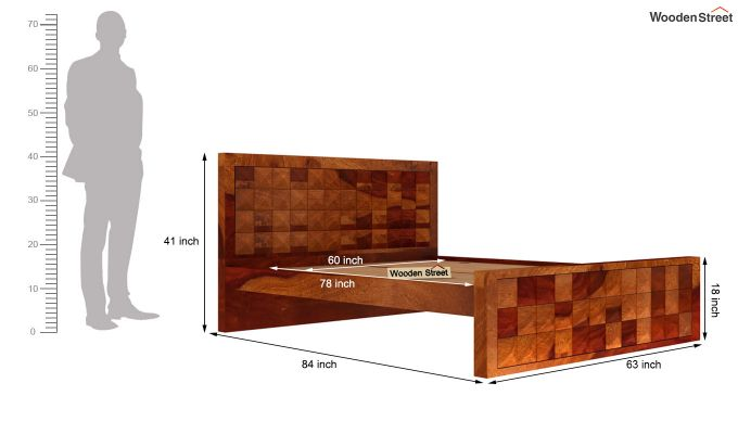 Morse Bed Without Storage (Queen Size, Honey Finish)-5