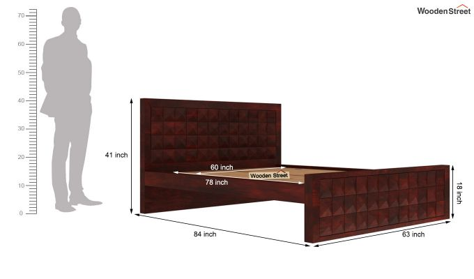 Morse Bed Without Storage (Queen Size, Mahogany Finish)-5