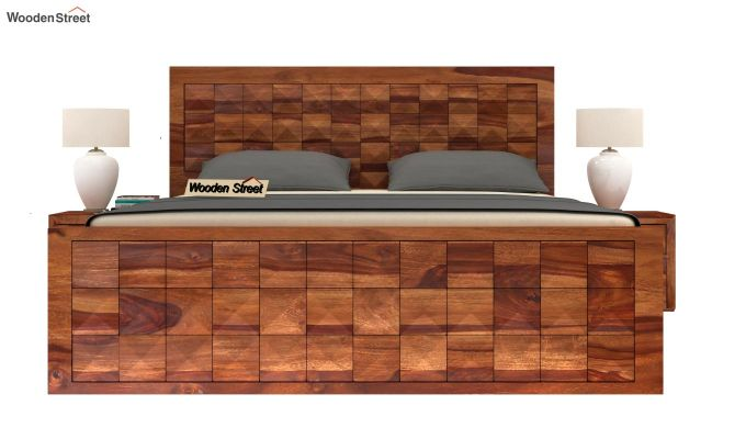 Morse Bed Without Storage (Queen Size, Teak Finish)-3