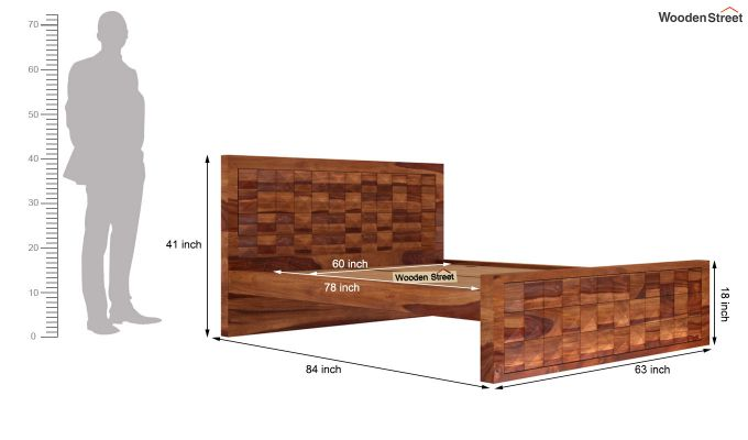 Morse Bed Without Storage (Queen Size, Teak Finish)-6