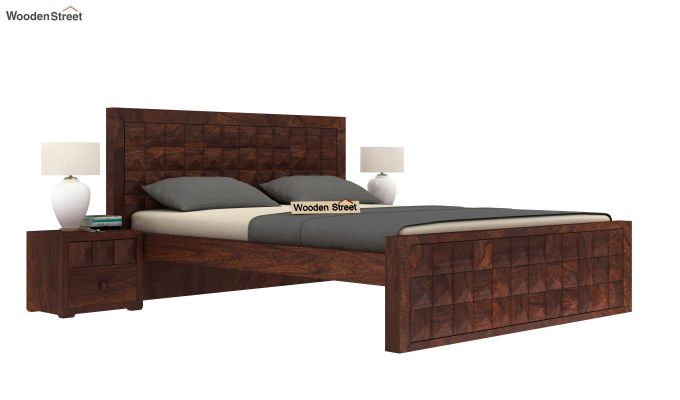 Morse Bed Without Storage (Queen Size, Walnut Finish)-1
